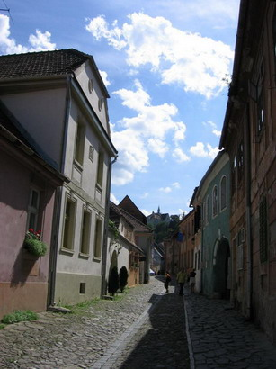 medieval streets in Sighisoara ...